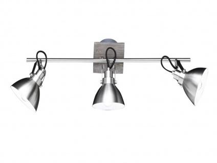 Holzfarbige Deckenlampe mit 3 schwenkbaren LED Spots aus Metall Nickel matt, E14