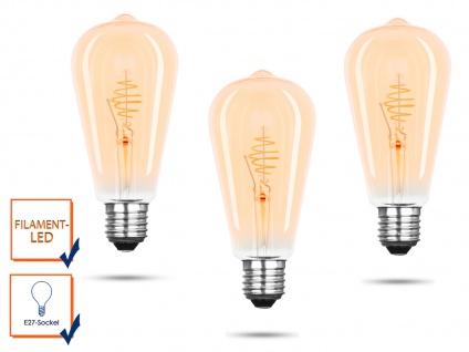 3x FILAMENT LED Leuchtmittel ST64 mit 3 Watt, 150 Lumen, 2000 Kelvin, E27-Sockel