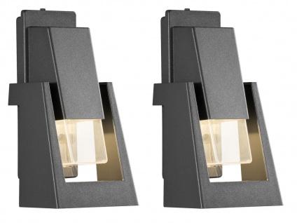 2er Set dimmbare Außenwandleuchten schwarz 350Lm, austauschbares LED Modul - Vorschau 1