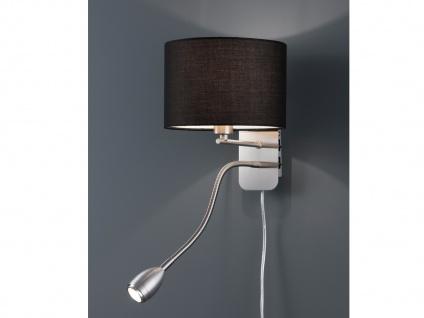Wandleuchte mit Stoffschirm schwarz und LED Leselampe fürs Bett - Stecker Kabel - Vorschau 5