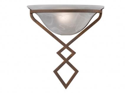 HONSEL Landhaus Wandleuchte Uplight, Wandlampe antik mit Lampenschirm Glas weiß