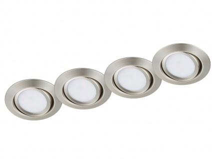 LED Einbaustrahler Decke 4er Set rund schwenkbar Nickel matt 5W Deckenleuchten