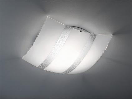 Deckenschale aus Glas 50x50cm DIMMBAR in weiß mit silber Streifen, Flurlampe E27