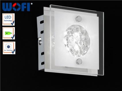 Design Wandleuchte LED, Chrom / Glas, Schalter, Wofi-Leuchten
