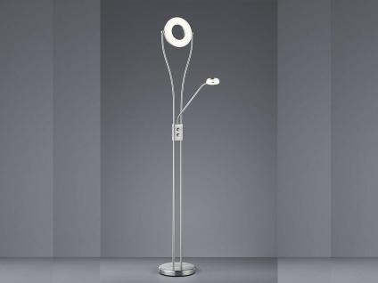 LED Deckenfluter Silber matt DIMMBAR mit Flex Leselicht Stehleuchte Stehlampe