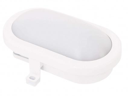 LED Wandleuchte oval weiß mit HF Bewegungsmelder, Außenleuchte Kellerlampe