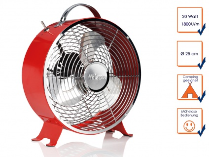 Roter RETRO Tischventilator Ø25cm 2 Stufen leise tragbar Camping Luftkühler