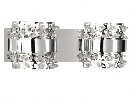 2-fl. LED Wandleuchte, Chorm mit Glassteinen Länge 33cm, Wandlampe Designerlampe - Vorschau 2