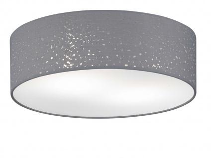 LED Deckenleuchte Ø 40cm Stoffschirm grau mit Dekor, Deckenlampe Wohnzimmer Flur