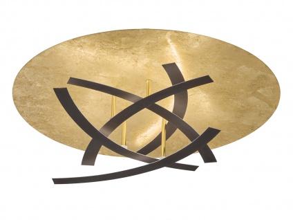 HONSEL LED Luxus Deckenleuchte rostfarbig / blattgoldfarbig Ø 60cm, Designlampe