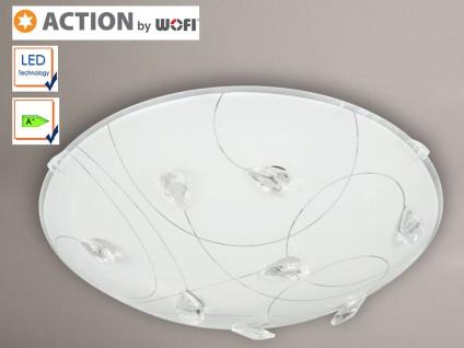 LED Deckenleuchte 40cm, Glas weiß / Kristallglas, Action by Wofi