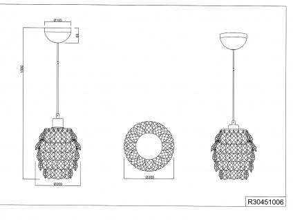 1 flammige Designer Pendelleuchte Lampenschirm Ø20cm mit Acryl Kristallbehang - Vorschau 5