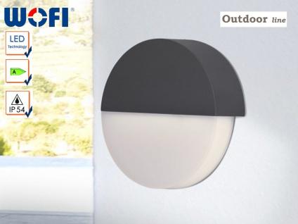 LED Außenwandleuchte Ø 18cm, Aluminium grau, Wofi-Leuchten