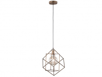 Retro LED Pendelleuchte mit käfigartigem Schirm Braun/Gold -Design Esstischlampe