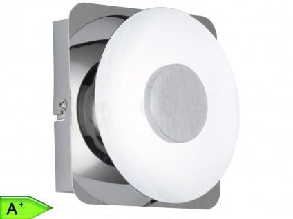 LED-Wandlampe, Design rund, Chrom / Metall weiß, Wofi-Leuchten