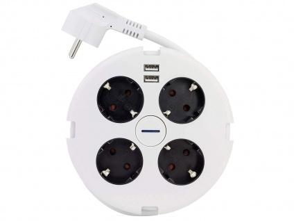 Steckdosenleiste 4 fach rund mit 2x USB, Mehrfachstecker mit Kabel für Steckdose