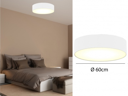 Runde LED Deckenleuchte Ø60 mit weißem Stoffschirm - Lampenschirm Deckenlampen