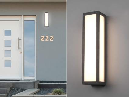 LED Außenwandleuchte in Anthrazit Fassadenbeleuchtung Gartenlampen mit Strom