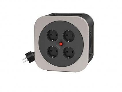 Handliche Kabelbox Kabeltrommel grau, 10M, Überhitzungsschutz Verlängerungskabel - Vorschau 2