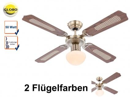 Deckenventilator mit Licht und Zugschalter, Altmessing, 2 Flügelfarben, Globo