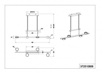Höhenverstellbares 4 Spot Balkenpendel mit Switch Dimmer, Up & Downlight, Silber - Vorschau 4