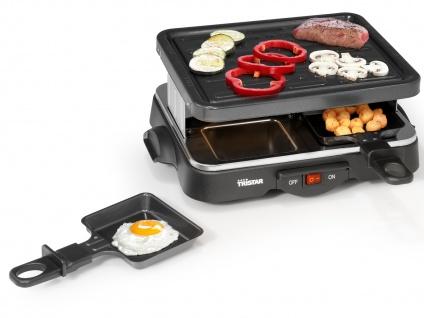 Raclette Gerät eckig für 4 Personen antihaftbeschichtete Bratplatte Raklett