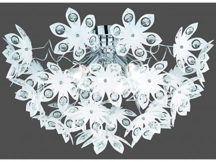 Deckenleuchte Ø55cm dimmbar Lampenschirm mit Kristall Blüten & Steinen aus Acryl