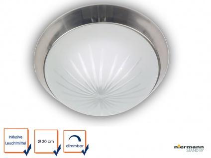 LED Flurleuchte LED Dielen Beleuchtung DIMMBAR Ø30cm Schliffglas Nickel matt