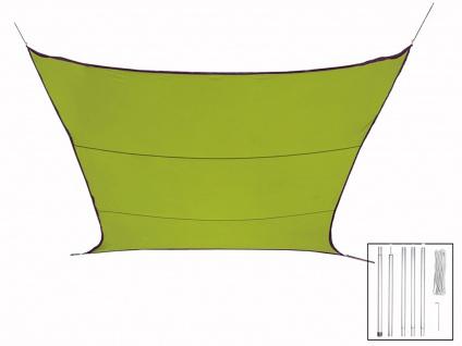 Sonnensegel Rechteckig 2x3m Grün mit Stangenset für den Garten Sonnenschutzsegel