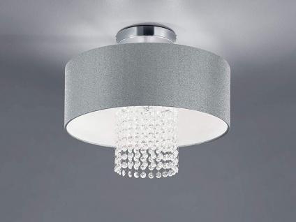 Mehrflammige LED Deckenleuchte runder Textilschirm Ø40cm Silber Acryl Kristallen
