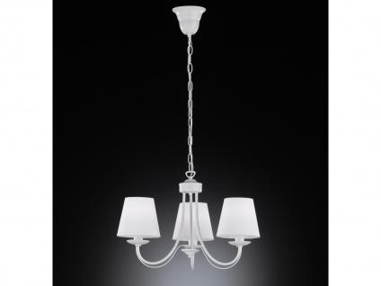 Dimmbarer LED Kronleuchter mit 3 Stoffschirmen in matt Weiß, mehrflammige Lampe