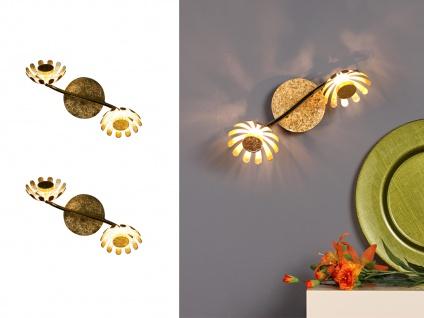 Zweiflammige LED Deckenlampen mit schwenkbaren Blumen Design Spots in Blattgold