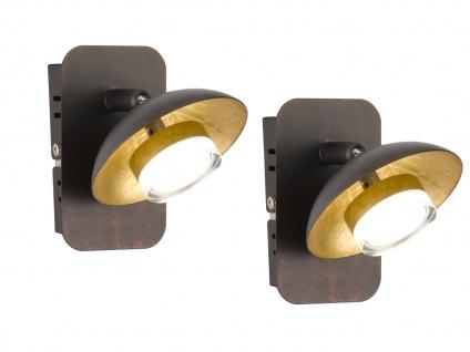 2x Klassische LED Wandleuchte Braun / Gold Spot schwenkbar 7, 2W Wandbeleuchtung