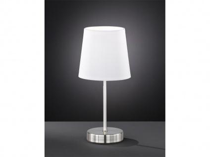 Klassische Tischleuchte 32cm hoch mit rundem Stofflampenschirm Ø 14cm in Weiß
