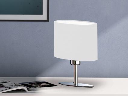 Designklassiker: Schöne LED Tischleuchte Silber mit Lampenschirm oval Stoff Weiß