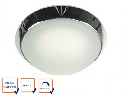 LED Wohnraumleuchte Ø25cm Glas satiniert Klarrand Chrom-Ring LED Kellerleuchte - Vorschau 3
