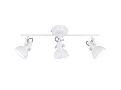 LED Deckenstrahler 3 flammig im Retro Look aus Metall in Weiß, dreh + schwenkbar - Vorschau 2