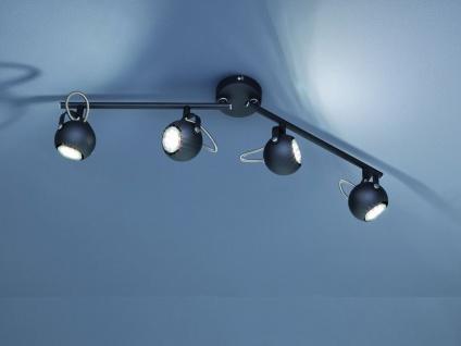 Moderne Deckenleuchte Strahler 4 flammig in schwarz matt mit schwenkbaren Spots