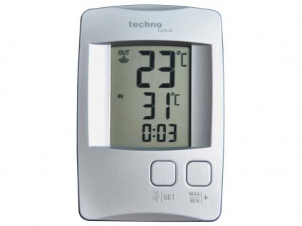 Temperaturstation mit Quarzuhr, silber, inkl. Funksender TX 9116 - Vorschau 1