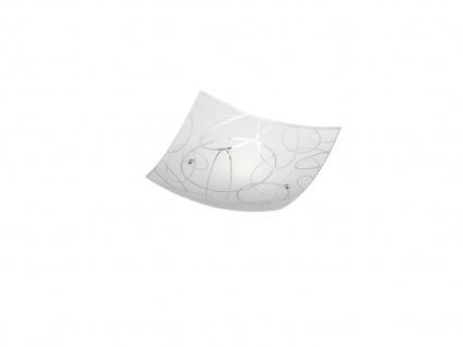 Glas Deckenschale 30x30cm, DIMMBAR in weiß mit dezentem Dekor, LED Flurleuchte