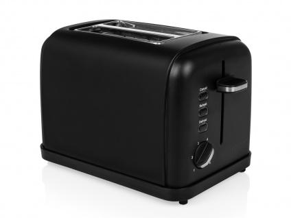 Kompakter Design Toaster Edelstahl Schwarz matt Aufwärm- & Auftaufunktion 950W - Vorschau 2