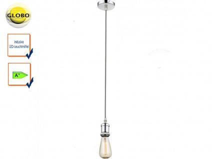 Globo Vintage Schnurpendel Textil grau mit E27 Filament LED, Hängelampe Retro