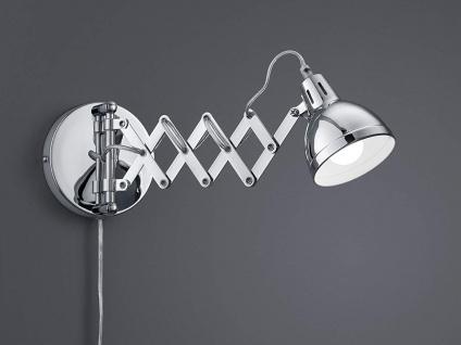 Retro LED Wandleuchte mit Scherengelenk und rundem Metall Lampenschirm in Chrom