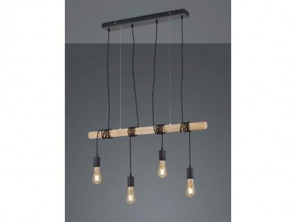 Vintage LED Pendelleuchte Metall & Holzbalken Hängelampen über Esszimmertisch