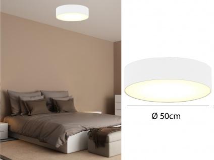 Deckenleuchte mit Stoff Lampenschirm Weiß 50cm - Textil Deckenlampe Stoffschirm