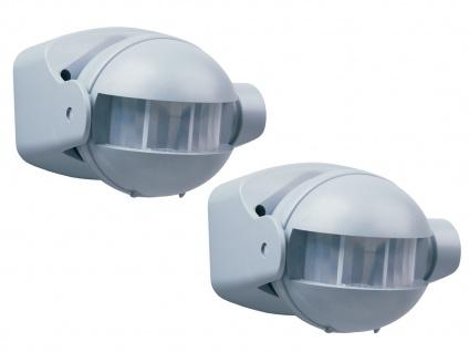 2er Pack Bewegungsmelder im Alu-Design, 12m/180° einstellbar Zeitintervall IP44