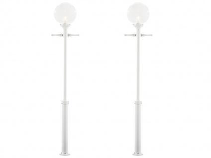 2er-Set weiße Straßenlaternen Kandelaber klares Acrylglas 240cm