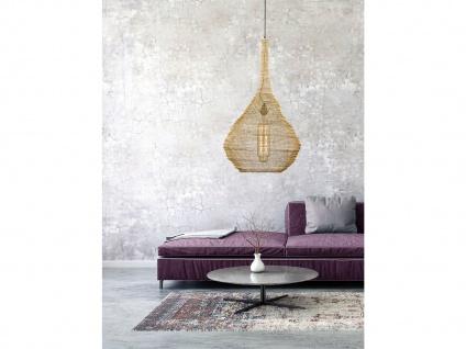 Design Pendelleuchte E27 mit Lampenschirm goldfarbig 47cm, moderne Esstischlampe