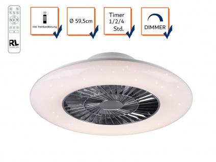 Flacher LED Deckenventilator Ø59cm mit Licht Lampe dimmbar Fernbedienung & Timer