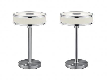 2 er SET LED Tischlampen mit Sensor Dimmer runder Stoffschirm mit Acryl in Weiß - Vorschau 2
